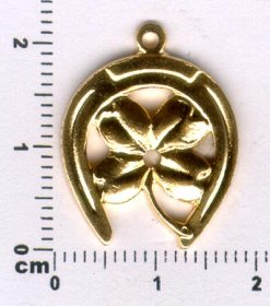 465P FOUR LEAF CLOVER IN HORSESHOE CHARM PENDANT