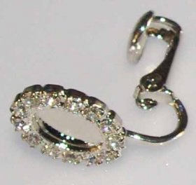14ER 8x6 Milled-edge EARRING WITH RHINESTONE SURROUND, PRICE PER PAIR