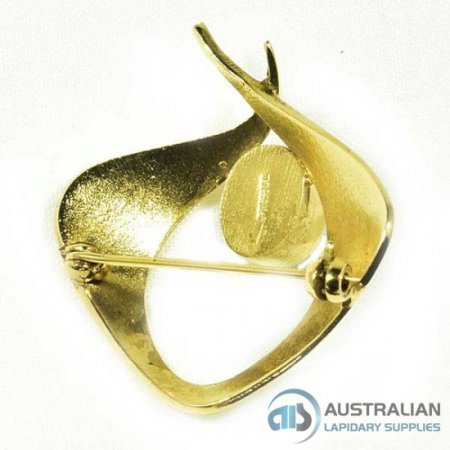 DL126 10X8 HARD GOLD PLATED SOLID STERLING BROOCH