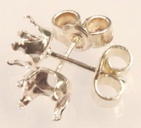 SSE75 S.S. STERLING SILVER 7x5MM 4-CLAW SNAP-TITE STUD EARRING