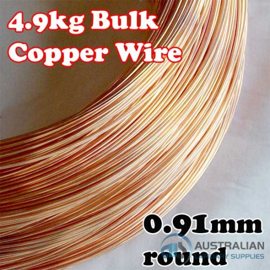 4.9kg BULK LOT 0.91mm 19G AWG or 20G SWG SOLID COPPER WIRE COIL