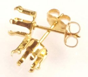 SSE6 G.F. GOLD FILLED 6MM 6-CLAW SNAP-TITE STUD EARRING