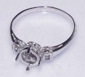 DL96 6mm rd. Sterling Silver Rhodium Plated RING