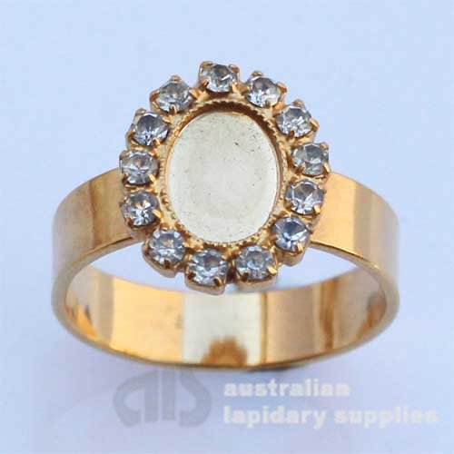 FREE29 10x8 Milled-edge Swarovski Crystal Ladies Ring in Gold Plate