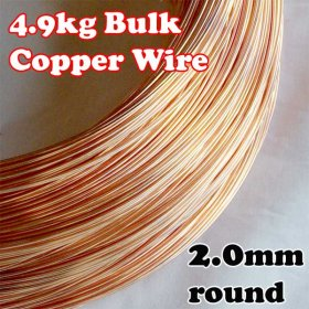 4.9kg BULK LOT 2mm or 12G AWG or 14G SWG SOLID COPPER WIRE COIL