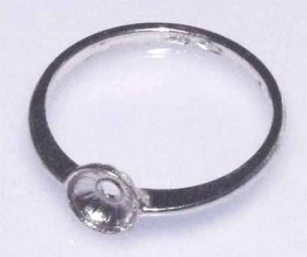 DL95 6mm to 7mm rd. Sterling Silver Rhodium Plated RING