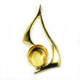 DL127 10X8 HARD GOLD PLATED SOLID STERLING PENDANT