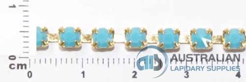 1CS 4mm TURQUOISE CRYSTAL CHAIN PRICED PER METRE