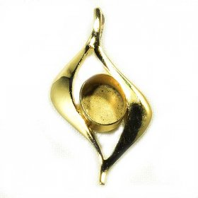 DL128 10X8 HARD GOLD PLATED SOLID STERLING PENDANT