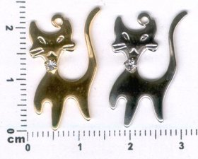 286P CAT CHARM PENDANTset with RHINESTONE