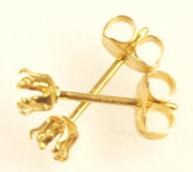 SSE3 G.F. GOLD FILLED 3MM 6-CLAW SNAP-TITE STUD EARRING