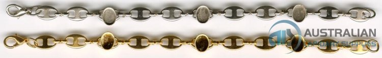 50B 8x6 Milled-edge BRACELET Gold Plate