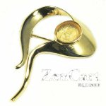 DL125 10X8 HARD GOLD PLATED SOLID STERLING BROOCH