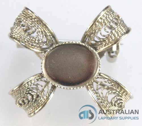 104BR 10 x 8 Milled-Edge FILIGREE BROOCH