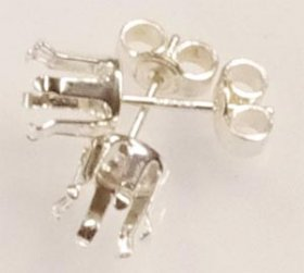 SSE6 S.S. STERLING SILVER 6MM 6-CLAW SNAP-TITE STUD EARRING