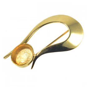 DL123 10x8 Hard Gold Plated Solid Sterling Brooch
