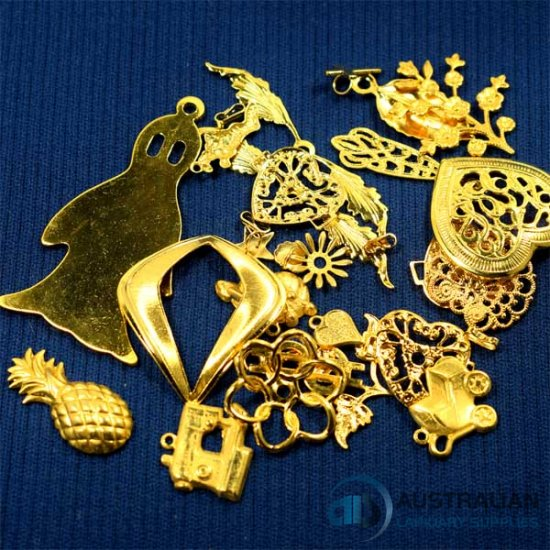 FREE52 Assorted lot of Gold Plated Charms Stampings