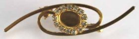 158BR 8x6 Crystal Brooch Gold Plate
