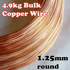 4.9kg BULK LOT 1.25mm 16G AWG or 18G SWG SOLID COPPER WIRE COIL