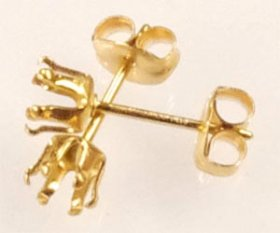 SSE4 G.F. GOLD FILLED 4MM 6-CLAW SNAP-TITE STUD EARRING