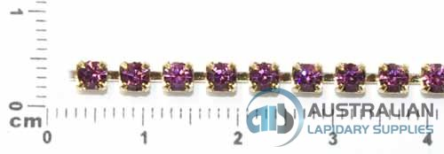 1CS 3mm AMETHYST CRYSTAL CHAIN PRICED PER METRE