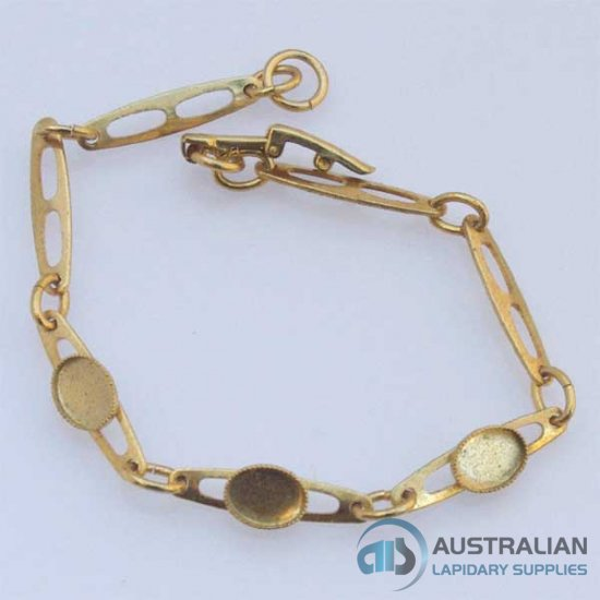 FREE27 8x6 Milled-edge Bracelet in Gold Plate
