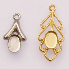 FREE25 2pcs 6x4 Pendants Gold and Nickel