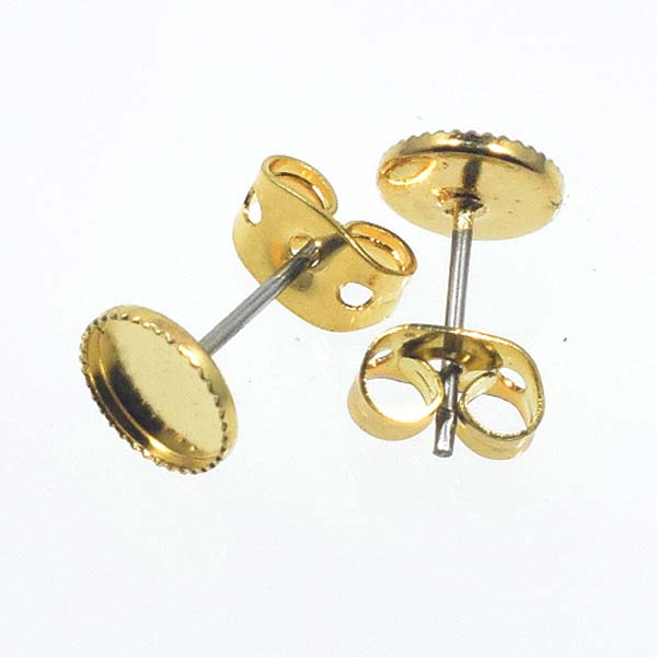 10ER 6mm rd. Milled-edge EARRING, PRICE PER PAIR